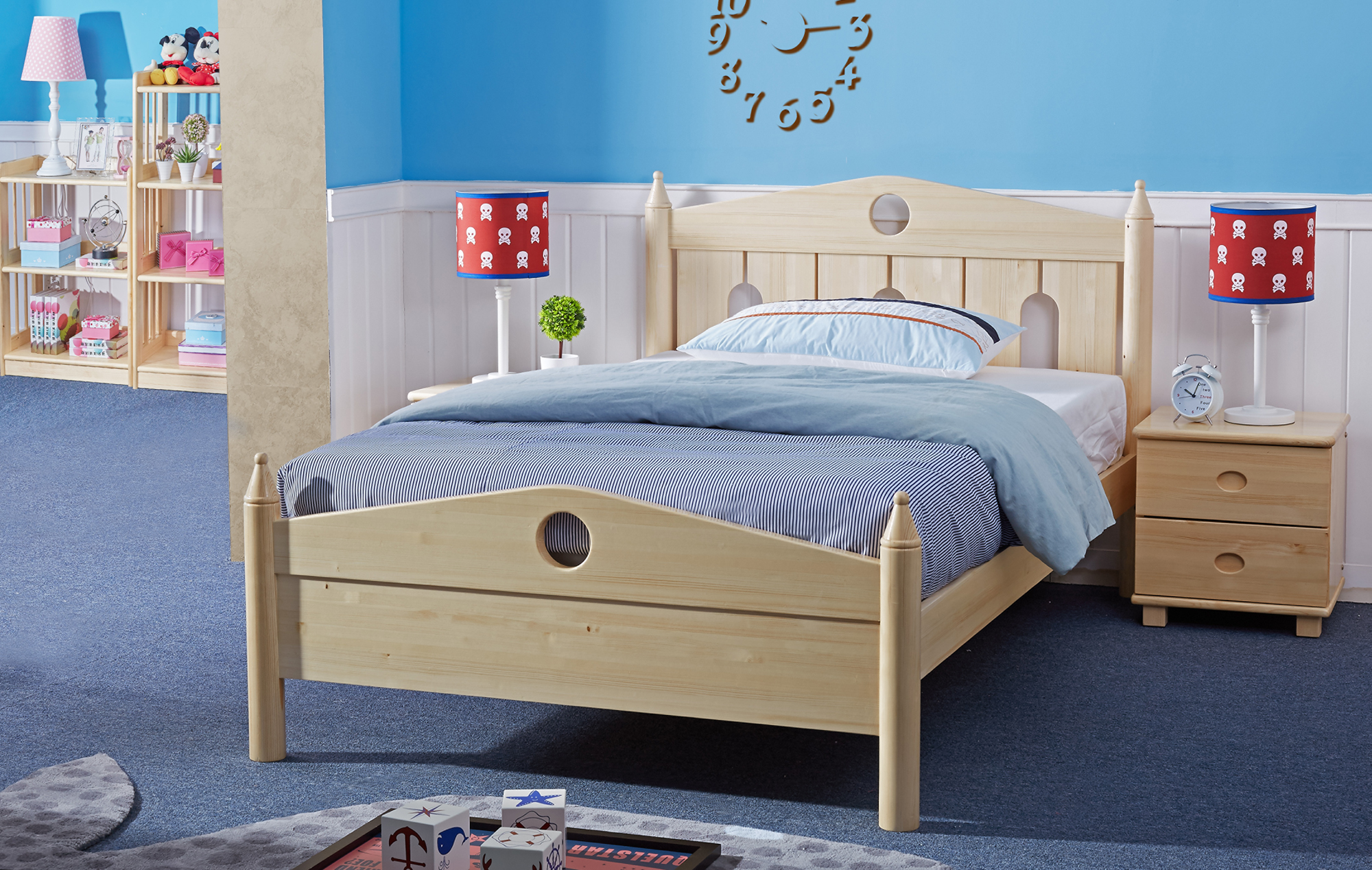 Finland caladoll loose bed solid wood bed simple modern children bed single bed double bed
