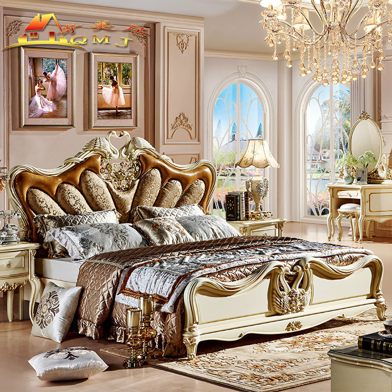 European style bed new classical brief European modern minimalist luxury European style carved double Zhuwo Swan storage bag marriage bed
