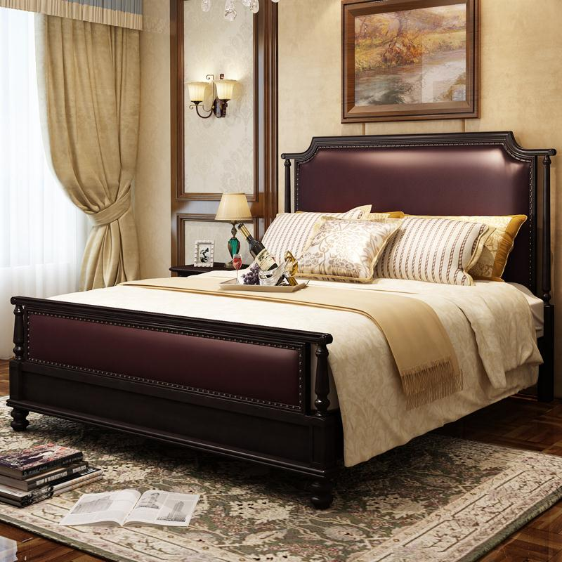 American style solid wood bed double bed, 1.822.2 meters big bed widening, simple solid wood bed, American style furniture, master bedroom bed