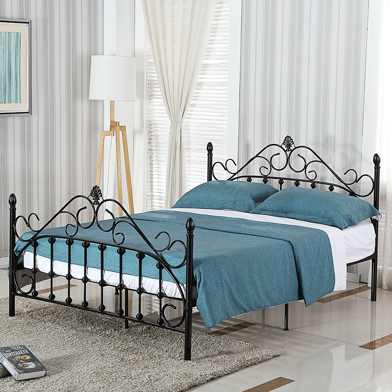 European style iron bed, princess bed, double bed, 1.51.8 meters, modern soft and environmentally friendly steel pipe apartment