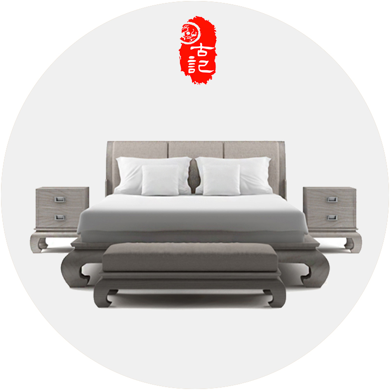 The new Chinese modern minimalist wooden bed bed 1.8 double 2 meters 2.2 meters of the bed Zhuwo Princess Zen furniture