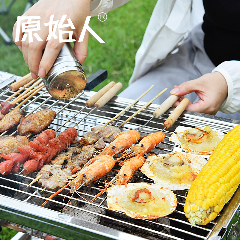 A full set of outdoor field 3 -5 stainless steel buffet smoke-free non stick mini commercial iron grill charcoal