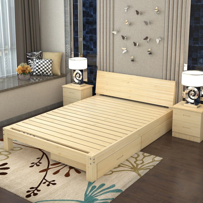 A simple rental real wood bed double 1.8 meters of modern minimalist 1.5 tatami pine single bed economy