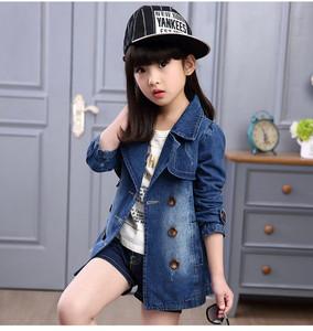 宅时尚微供一件代发 2016秋装中大童牛仔风衣 修身潮款女童外套