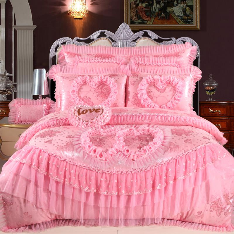 High quality jacquard four piece type sheet Home Furnishing Cathy and 4 sets of pure cotton satin lace wedding bedding