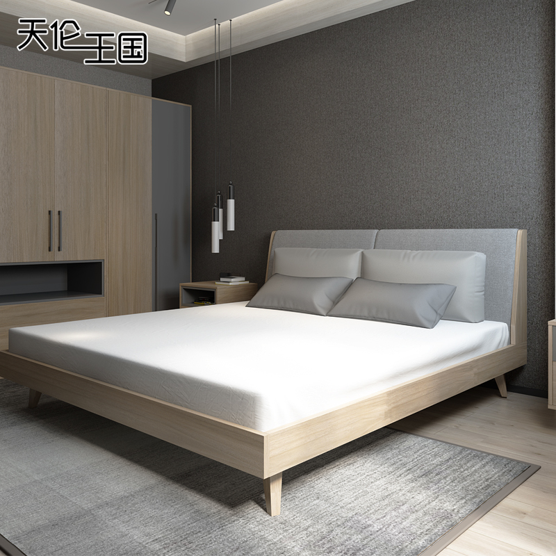Nordic style bed modern simple double bed 1.5 meters 1.8 meters master bedroom economy type soft bed, solid wood bed marriage bed