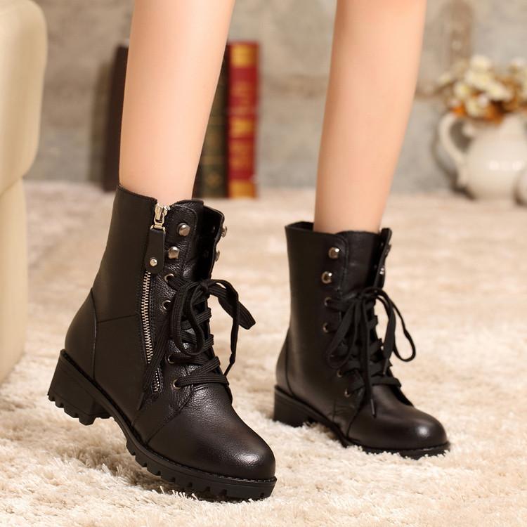 秋冬季平底真皮女靴侧拉链中筒马丁靴欧美短靴女粗跟单靴及棉鞋潮