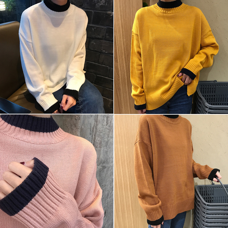 egy nagy házban 百搭) színes 打底 bő fél garbó pulóvert a 实拍 毛衫