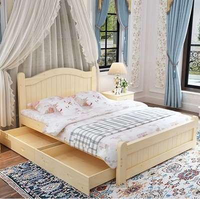 Simple all solid wood bed, pine bed, princess bed, children's single bed furniture, double bed, 1.81.21.5m meters white