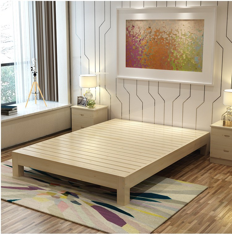 Solid wood bed single bed double bed room 1.5 meters to 1.8 meters of simple non tatami bed bed bed