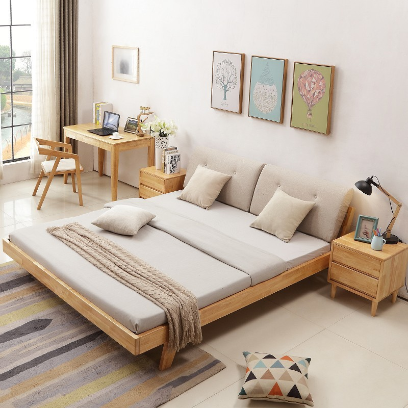 Solid wood bed 1.8 meters double oak bed Zhuwo Nordic marriage bed 1.5 meters large-sized apartment style Nordic soft bed