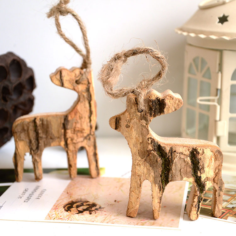 樹皮小鹿 創意家居擺件 樹皮工藝品 木制裝飾品 仿真樹皮小鹿