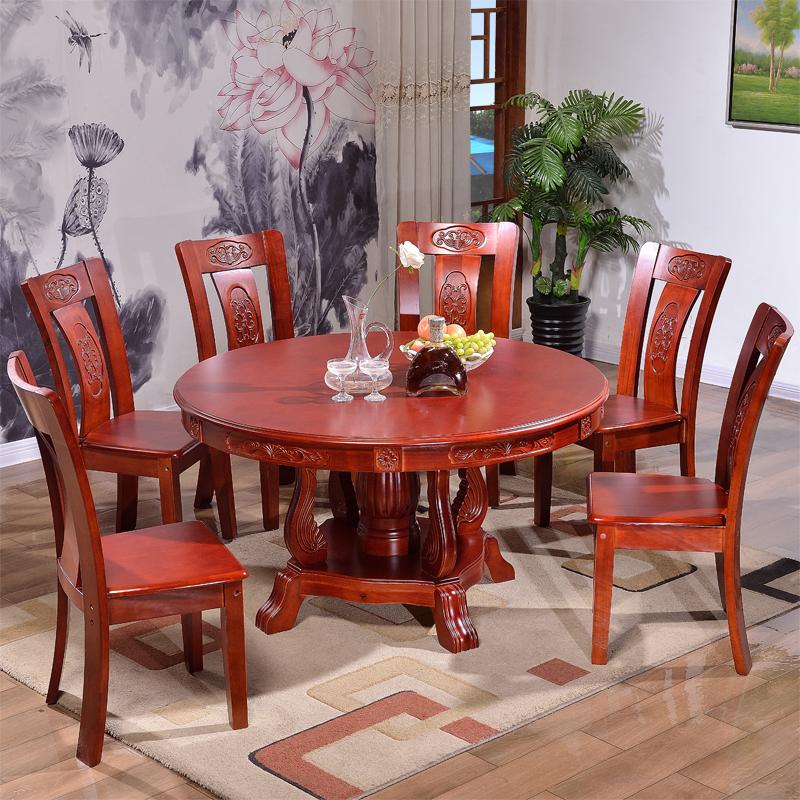 Table et chaise en bois massif de combinaison moderne et simple repas table ronde domestique Hotel Grande Table ronde avec disque rotatif 6 personnes de 1,8 m