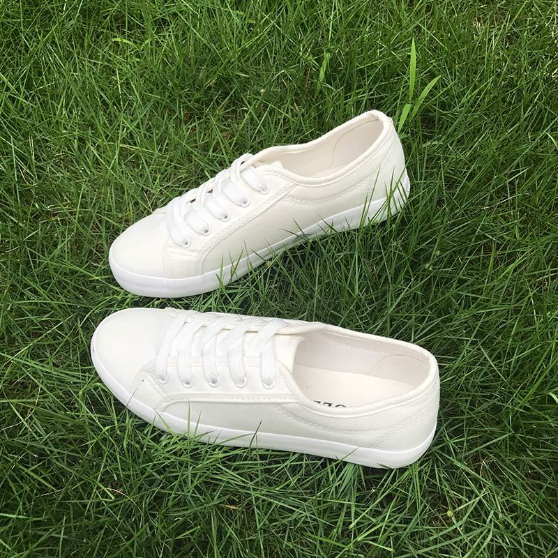 文艺小白鞋女低帮系带白色帆布鞋女夏学生韩版百搭平底休闲白鞋子
