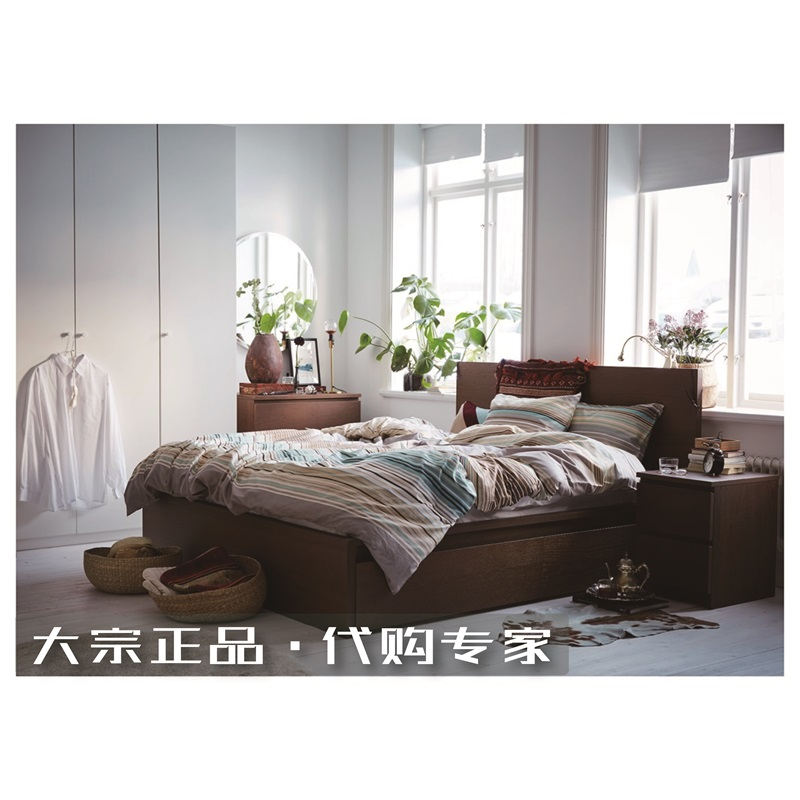 Shanghai IKEA domestic purchasing IKE Sodermalm double bed frame with 2 180cm wide and 150 master bedroom drawer