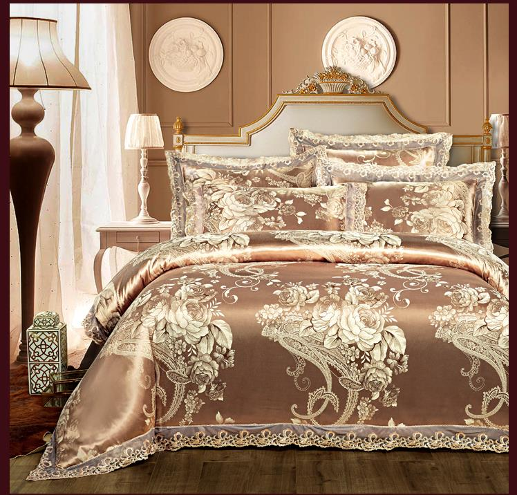 Satin bed supplies simulation package post wedding cotton jacquard four piece skin soft high-grade soft silk