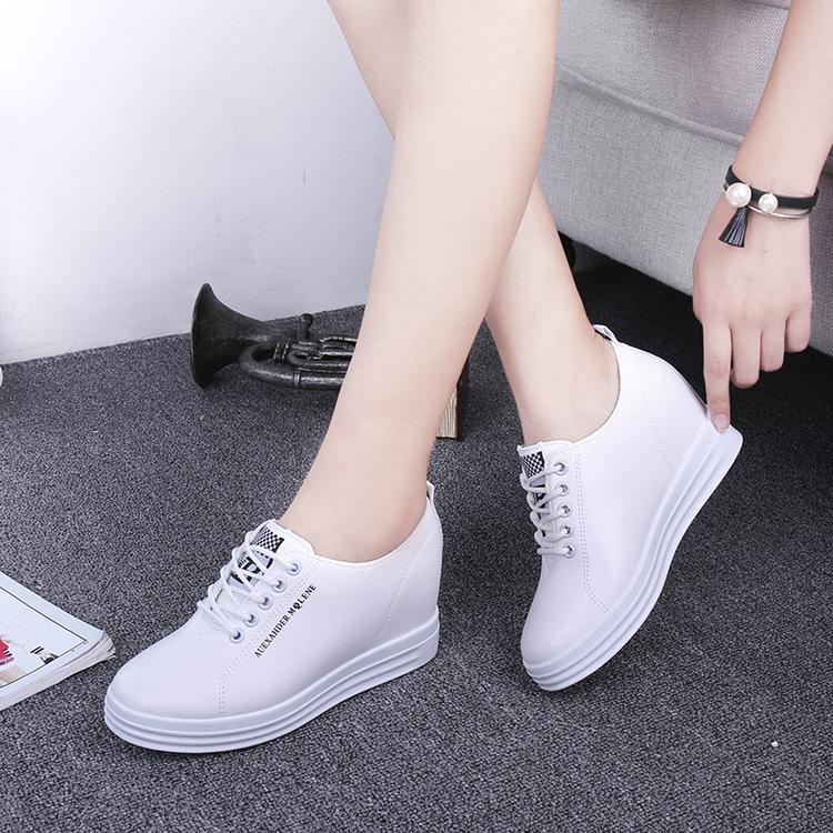 內增高女鞋繫帶春秋新款小白鞋運動休閑鞋松糕厚底坡跟單鞋樂福鞋