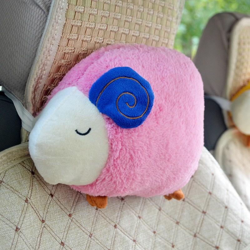 自動車のヘッドレスト護頚枕可愛いキャラクター四季車用柔らかい枕クッションラベンダー車