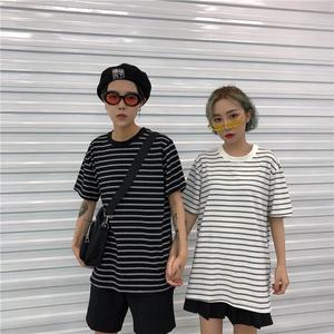 夏季韩国ins潮牌黑白条纹短袖T恤 小清新文艺情侣装宽松纯棉Tee