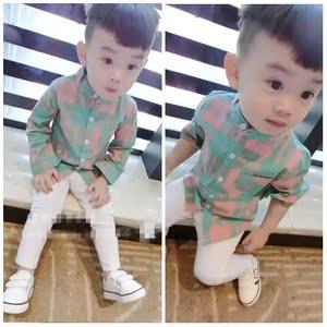 童裝男童格子襯衫2018春秋裝新款寶寶兒童韓版中小童立領長袖襯衣