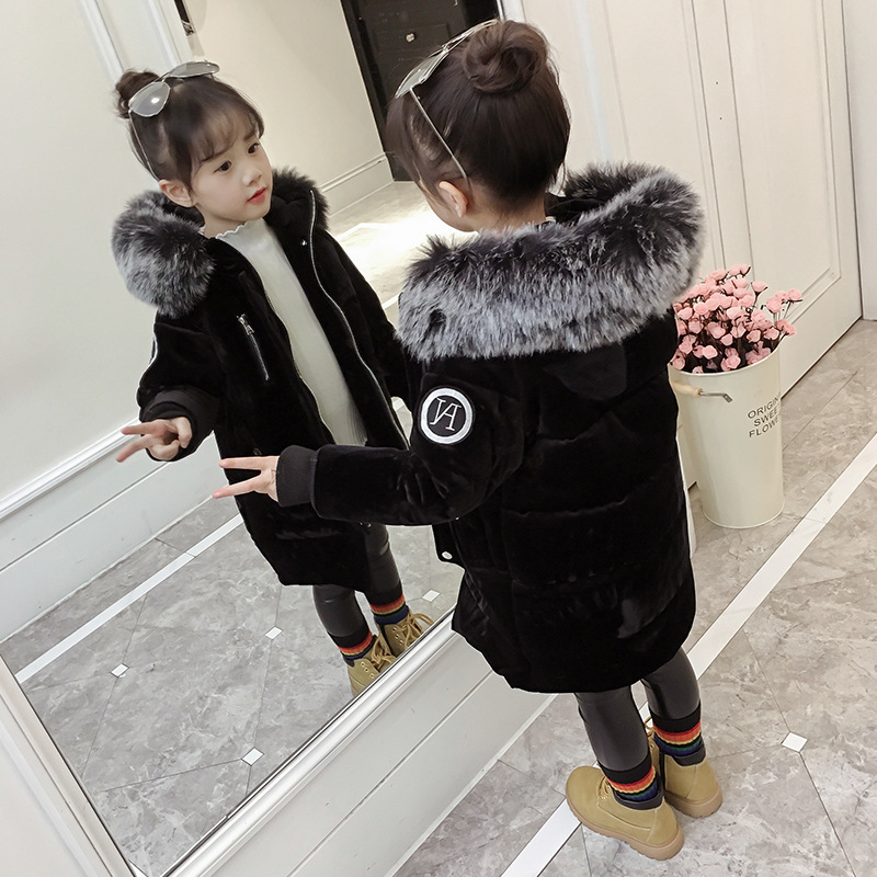童装男童女童棉衣2017新款金丝绒外套儿童冬装加厚中长款大童棉袄