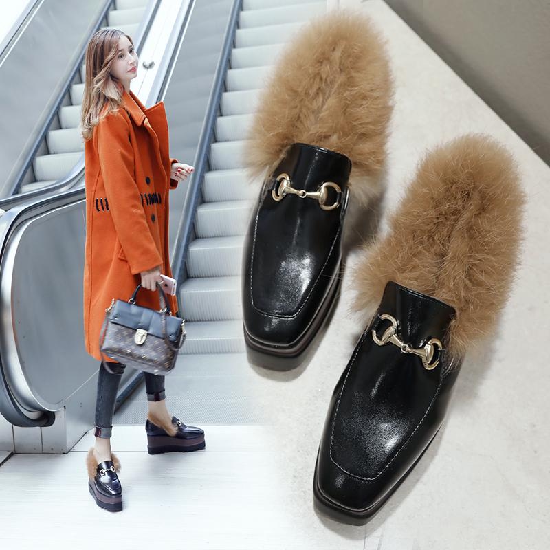 天天特价松糕鞋厚底毛毛鞋女冬高跟兔毛豆豆鞋女加绒内增高棉瓢鞋