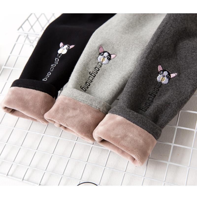 女童加绒加厚打底裤秋冬童装儿童刺绣高腰外穿长裤宝宝纯棉保暖裤