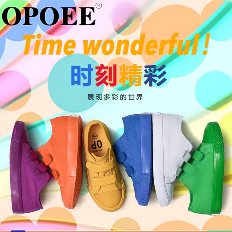 OPOEE儿童帆布鞋2016秋款新款男童女童鞋糖果色低帮魔术贴小白鞋