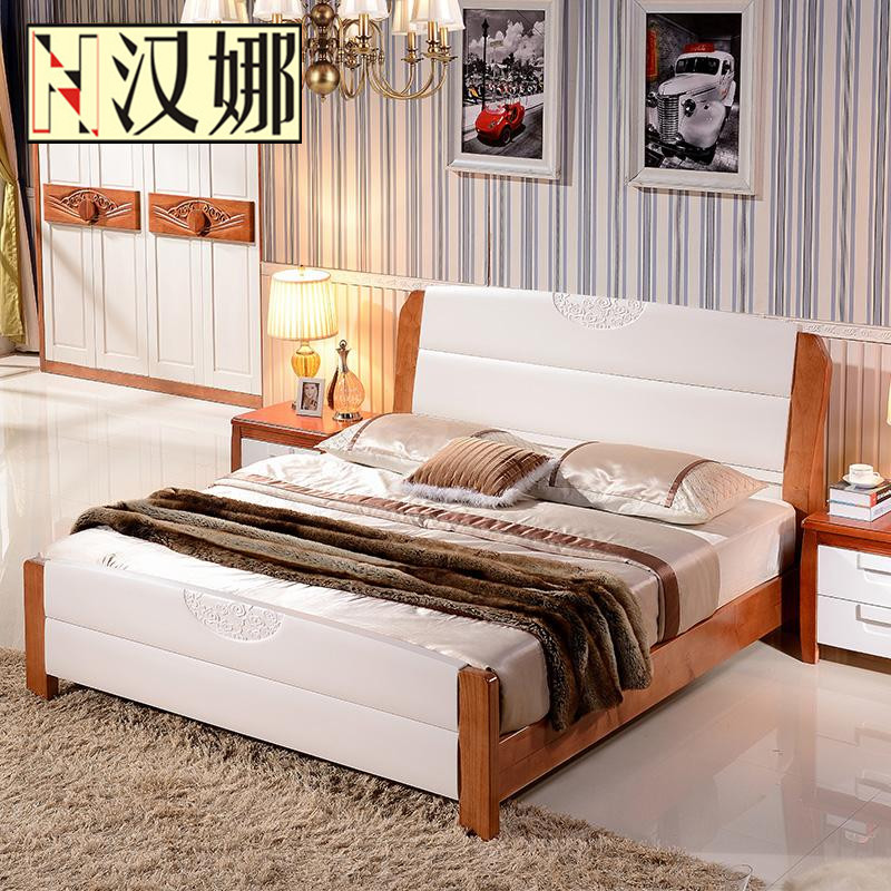 All solid wood bed, double person, single Mediterranean, modern simple 1.8 meters high box storage bed, 1.5 meter oak furniture
