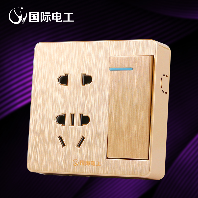 With a five hole switch socket type 86 thin section of wall open single hole double control five champagne gold