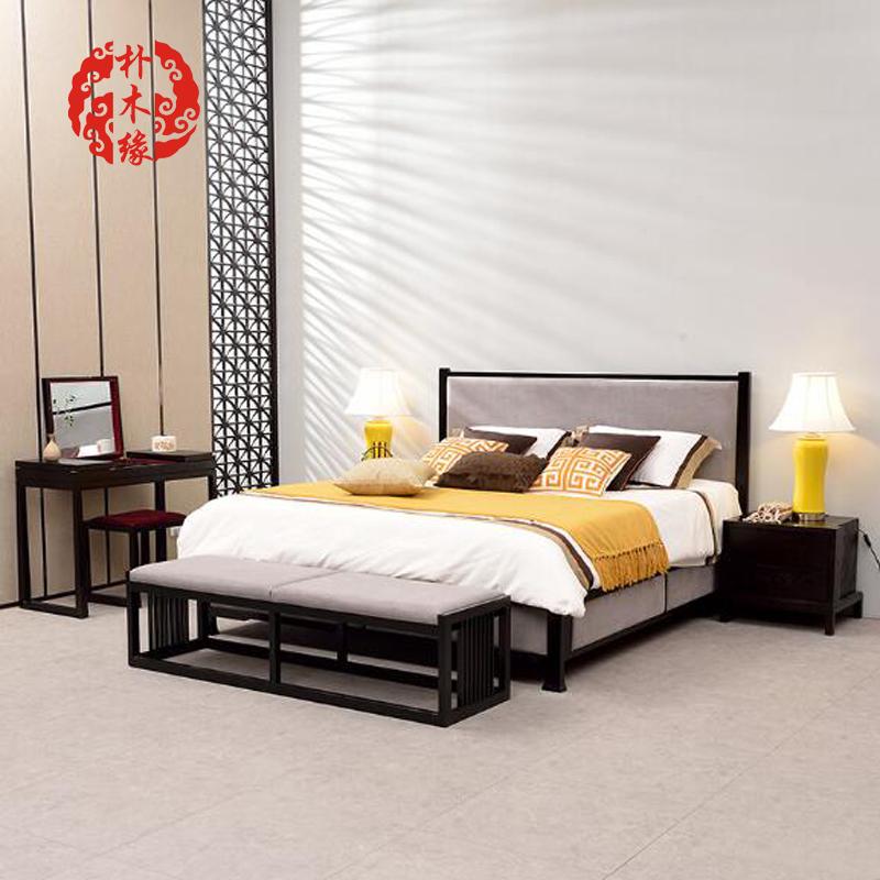 現代中国式の簡明な木造1 . 8ダブル寝室禪の教えにも少なからずモデルのお部屋2 . 0メートル中国風の新しい家具を注文して作らせて