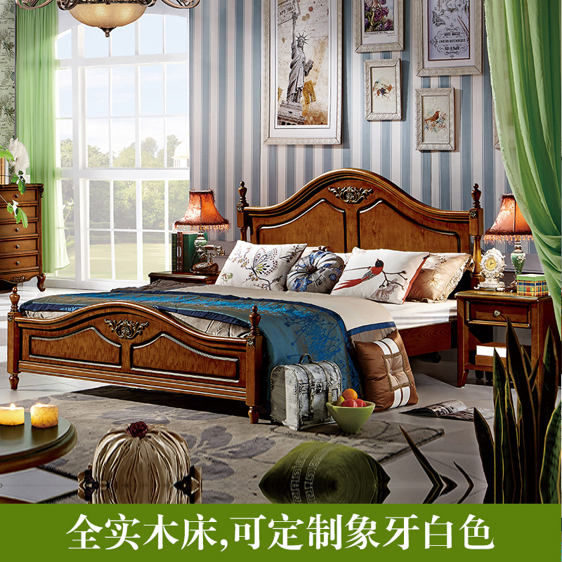 A red oak furniture elegant American country wood bed European double bedroom high box bed 1.51.8 marriage bed