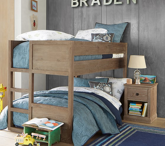 American style solid wood bed, upper and lower children's bed, retro old twins bed, children double bed ladder cabinet bed customization