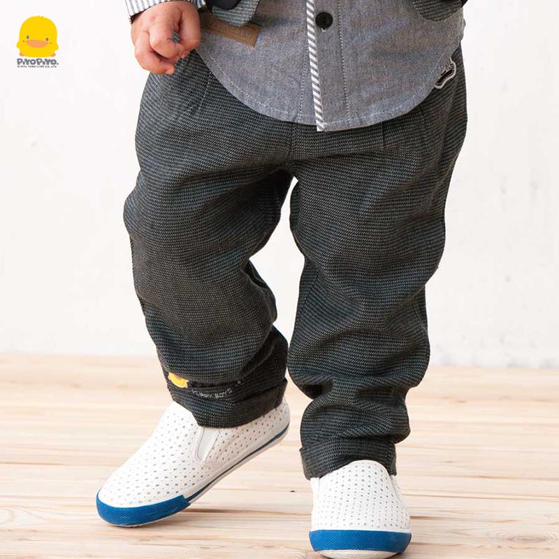 2-3岁黄色小鸭春秋男童宝宝长裤毛呢裤冬季裤子休闲裤西裤