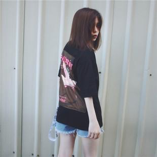 VE家 欧美新款2017夏印花梦露T恤短袖大码织带