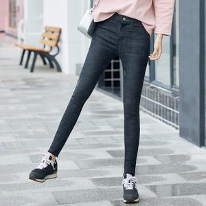 实拍A1085#牛仔裤女2018春新品韩版弹力紧身显瘦小脚铅笔裤长裤子