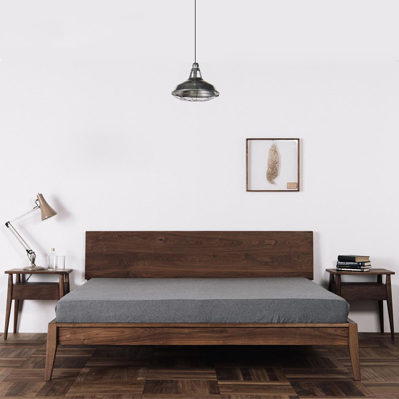 The new Chinese style solid wood bed simple modern ash 1.5m1.8m meters double master bedroom bed bed
