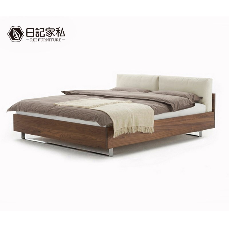 (fine) black walnut, red oak wood bed on soft tatami bed 1.8 meters double bed modern minimalist