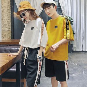 5583#(实拍)情侣装夏装套装2018新款韩版宽松 上衣25  裤子27