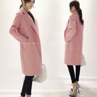 2016秋冬装新款韩版女气质中长款百搭显瘦毛呢大衣毛呢外套潮