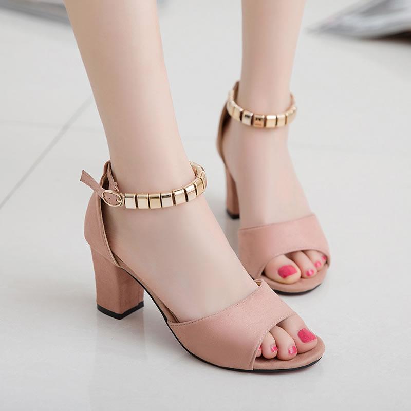 凉鞋女夏季高跟鞋粗跟2017新款韩版中跟鞋一字扣罗马百搭舒适凉鞋
