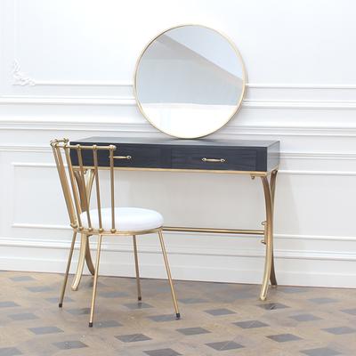 北欧简约迷你小书桌金色铁艺白色现代美甲店桌椅卧室梳妆台化妆桌