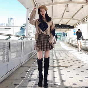 套装裙2018秋冬季新款韩版时尚气质复古时髦矮个子毛衣裙子两件套
