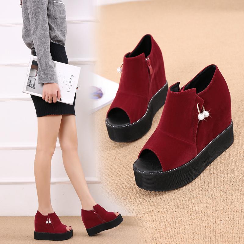 夏秋新款时尚坡跟鱼嘴酒红色水钻凉靴超高跟低帮松糕厚底凉鞋女32