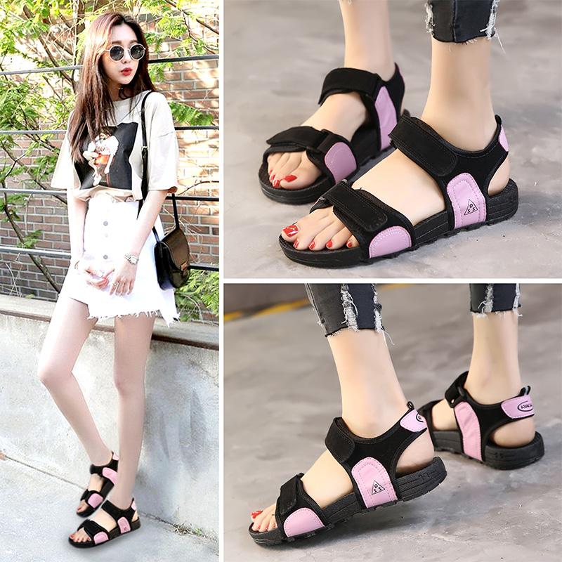 平底凉鞋女学生夏2017新款百搭韩版潮平跟罗马运动一字带沙滩鞋子