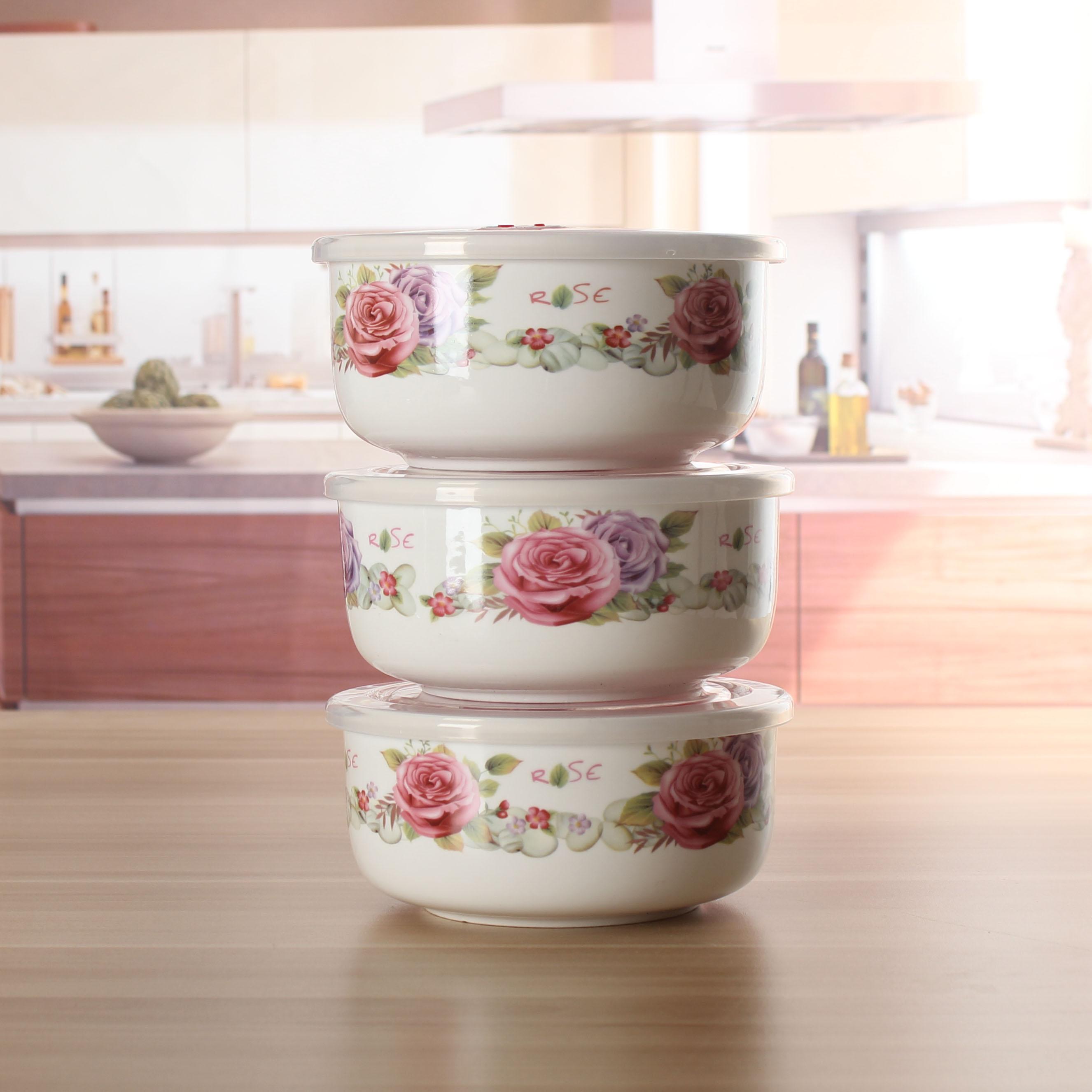 大号陶瓷保鲜碗带盖密封乐扣耐热饭盒密封罐不漏气冰箱微波炉专用