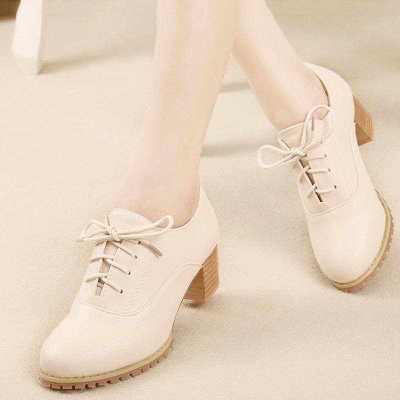 春秋季布洛克英伦女鞋深口粗跟单鞋 中跟系带休闲鞋小白鞋女皮鞋