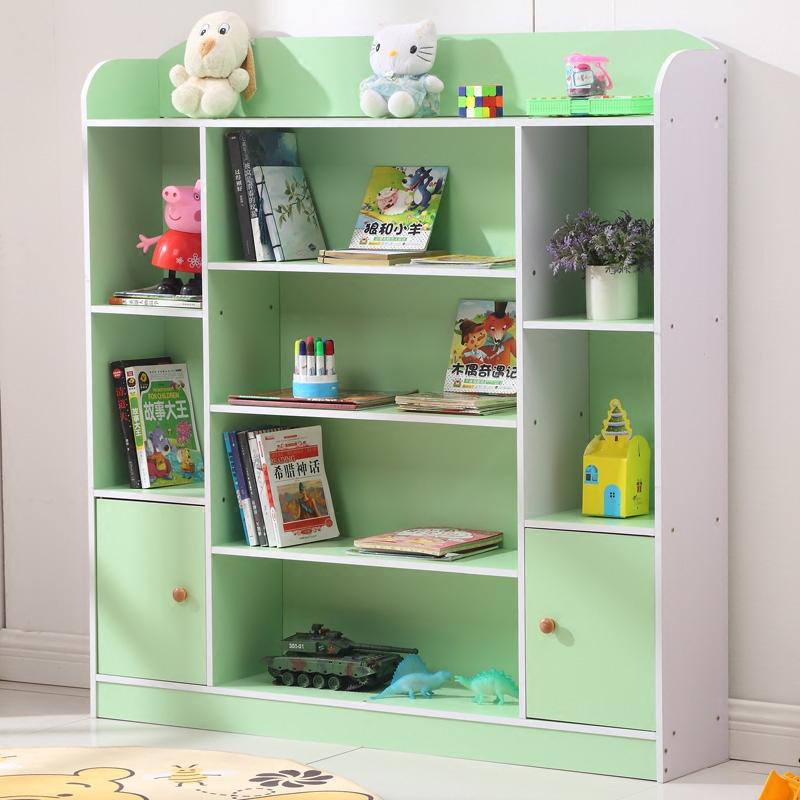 儿童书架置物架/幼儿书架学生简易现代小书柜带门卡通儿童玩具架