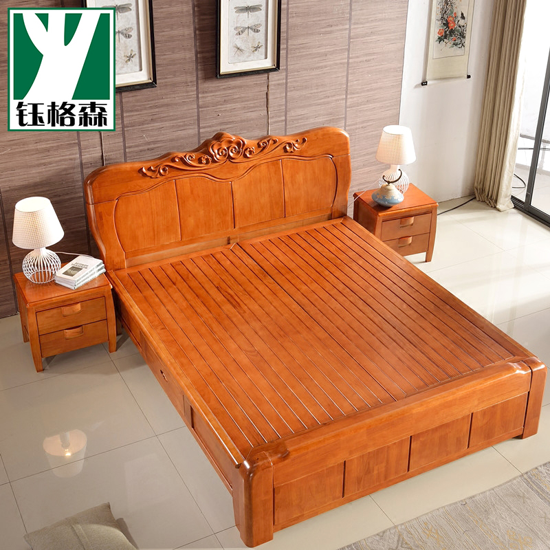 Solid wood bed, 1.8 meters oak bed, double bed, high box, pneumatic storage bed, simple modern new Chinese bedroom furniture