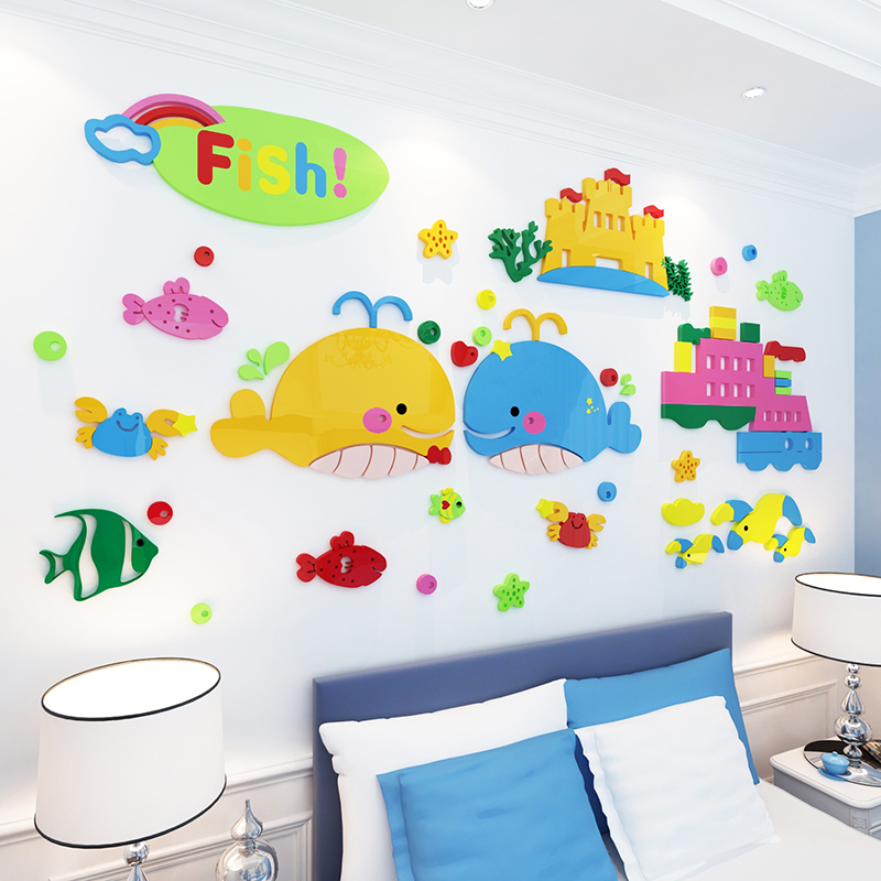Cartoon creative wall stickers wall stickers children's room 3D wall stickers bathroom waterproof stickers tile stickers